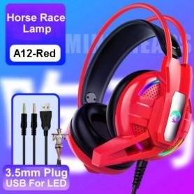 AURICULAR GAMER A12 ROJO PS4 PC XBOX LUZ LED HEADSET GAMING CON MICROFONO CONTROL VOLUMEN