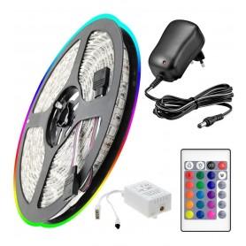 TIRA DE LED RGB 5 METROS CON FUENTE Y CONTROL REMOTO LED 3528