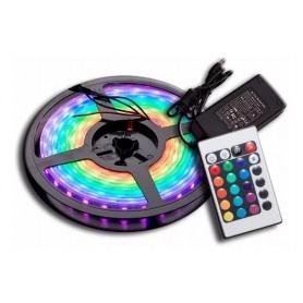 TIRA DE LED RGB 5 METROS CON FUENTE Y CONTROL LED 5050 INTERIOR EXTERIOR RECUBIERTA GOMA