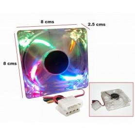 COOLER VENTILADOR 80X80 ACRILICO CON LUZ RGB 80MM CONECTOR MOLEX HW8025C