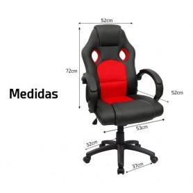 SILLA GAMER BLACK AND RED DAZA RECLINABLE SUPER GAMING WNP001REBK
