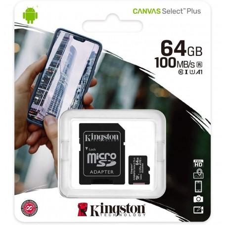 MEMORIA MICRO SD 64GB CLASE 10 CANVAS SELECT 100MB/S KINGSTON