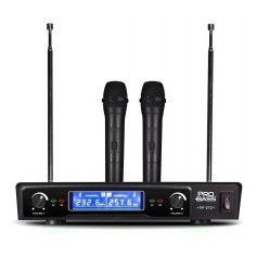 MICROFONO INALAMBRICO DOBLE PROFESIONAL PRO BASS VHF VF-212 DISPLAY