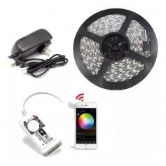 KIT TIRA LED RGB 5050 INTERIOR 5MTS + CONTROLADORA WIFI APP + FUENTE 3AMP
