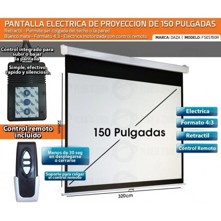 PANTALLA ELECTRICA DAZA 150' PULGADAS CON CONTROL REMOTO RETRACTIL PROYECTORES PELICULAS FSES150R
