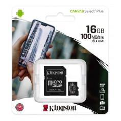 MEMORIA MICRO SD 16GB CLASE 10 CANVAS PLUS 100MB/S KINGSTON U1
