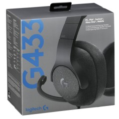 AURICULAR LOGITECH G433 GAMER 7.1 CON MICROFONO PC PS4 XBOX BLACK GAMING