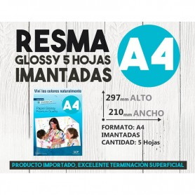 RESMA A4 FOTOGRAFICO SCP GLOSSY IMANTADA 690GR 5 HOJAS