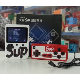 CONSOLA RETRO PORTATIL SUPREME GAMEBOY + JOYSTICK FAMILY CON 400 JUEGOS (juegan dos) SE CONECTA A LA TV BLANCO