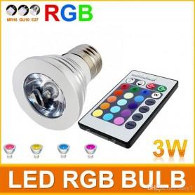 LAMPARA DICROICA RGB 3W + CONTROL REMOTO