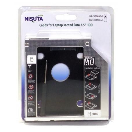 CADDY NISUTA SEGUNDO DISCO NOTEBOOK HDD SATA O SSD UNIVERSAL 12.7MM NSCADW12