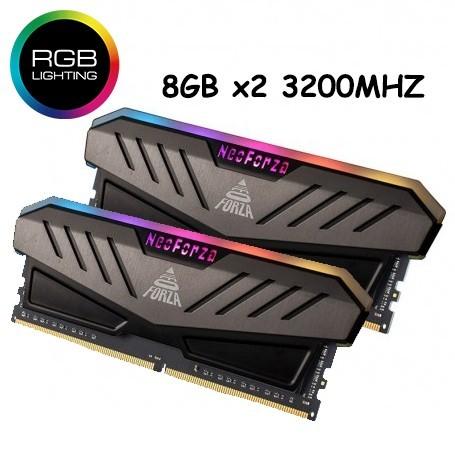 MEMORIA GAMER DDR4 16GB KIT (8GB X2) 3200MHZ RGB MARS GREY NEO FORZA UDIMM SUPER RAPIDAS CON DISIPADOR LUZ LED