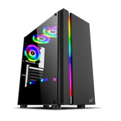 GABINETE PC GAMER RGB ACRILICO SP CG-9900 ULTRA GAMING LUCES LED USB 3.0 LOULAN (SIN FUENTE)