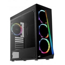 GABINETE AEROCOOL SHARD BLACK TEMPERED GLASS + 4 FANS RGB MID TOWER GAMER