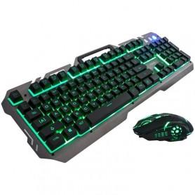 Combo Noga Mouse Y Teclado Con Luz Base Metalica Nkb-96 Kit Gamer Reforzado Mouse 6 Botones