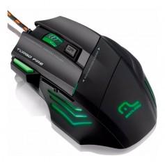 Mouse Gaming Warrior Rayner 207 Luz Led Verde 3200 Dpi Mouse Gamer 7 Botones Multilaser Con Pad Gamer Warrior