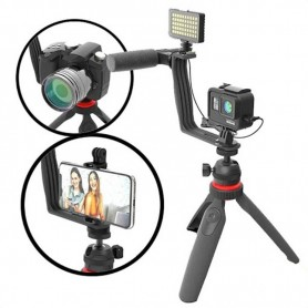Kit Vlog Beston Streaming Iluminador Tripode Luz Led Microfono Ideal Camara o Celular Tik Tok Streaming Zoom Vlooggkit