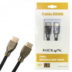 CABLE HDMI SUP-0809 5MTS MALLADO ORO METAL 1.4 3D 4K