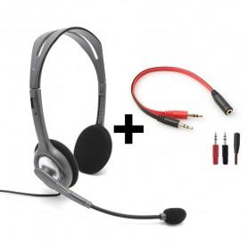 Auricular Vincha Con Microfono Logitech H111 Jack 3.5Mm Ps4 Headset + Adaptador Divisor Para Pc