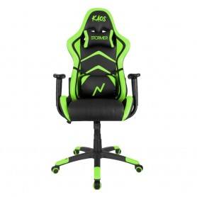 Sillon Gamer Kaos Reclinable Black And Green Butaca Silla Pc Ps4 Noga Almohadon Silla Gaming
