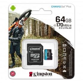Memoria Micro Sd 64Gb Clase 10 Kingston Canvas Go Plus V30 U3 170Mb 1080P 4K Camaras Digitales
