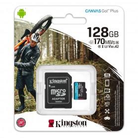 Memoria Micro Sd 128Gb Clase 10 Kingston Canvas Go Plus V30 U3 170Mb 1080P 4K Camaras Digitales