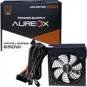 Fuente Aureox 650W 80 Plus Bronze +12V1 23A Doble Linea Total 46A Ide 4 Pines 24 Pines 8 Pines Sata x4