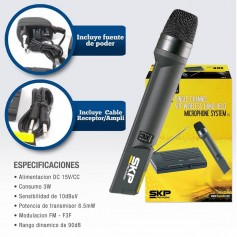 MICROFONO INALAMBRICO PROFESIONAL DJ SKP VHF 655