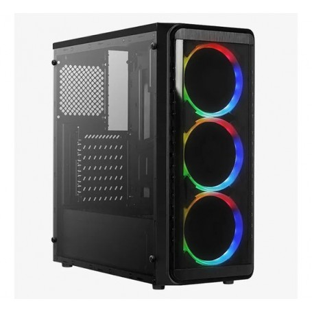 Gabinete Pc Gamer Rgb Acrilico Sp Cg-6080 Ultra Gaming Luces Led Usb 3.0 Incluye 3 Coolers Frontales (Sin Fuente)