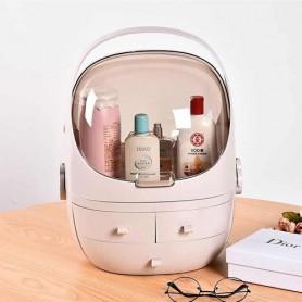 Organizador Acrilico Caja Porta Cosmeticos Labial Maquillaje 3 Cajones Con Manija Vir-2683 Grande