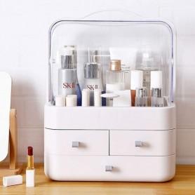 Organizador Acrilico Caja Porta Cosmeticos Labial Maquillaje 3 Cajones Con Manija Vir-2684 Grande