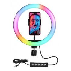 Aro De Luz Led Rgb 26 Cm Dinax Con Tripode Para Escritorio Ideal Fotografia Tik Tok Maquillaje Manicura Selfie