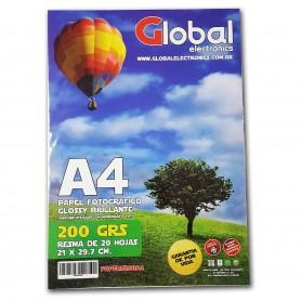 Papel Glossy En Resma A4 20 Hojas 200 Gramos Global