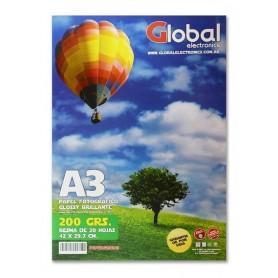 Papel Glossy En Resma A3 20 Hojas 200 Gramos Global