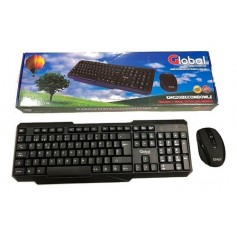 Teclado Y Mouse Inalambrico Global 2.4Ghz A Pilas Negro Kmg208K