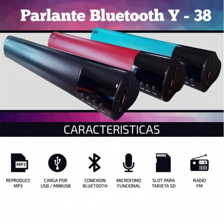 PARLANTE BLUETOOTH Y38 MP3 USB BATERIA TARJETA SD BT RADIO