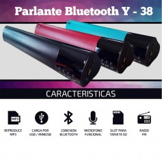 PARLANTE BLUETOOTH Y38 MP3 USB BATERIA TARJETA SD BT RADIO