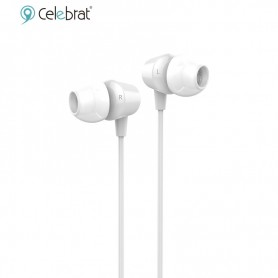 Auricular In Ear Celebrat G4 Con Microfono Flat Blanco