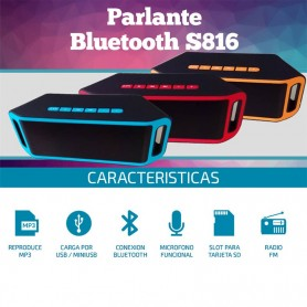 PARLANTE BLUETOOTH S816 MP3 USB BATERIA TARJETA SD BT RADIO