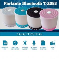 PARLANTE BLUETOOTH CON LUZ USB LECTOR MICRO SD T 2083