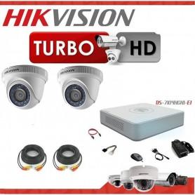KIT 2 CAMARAS SEGURIDAD HD + DVR 4 TURBO HD 720 HIKVISION + CABLES + TRANSFORMADOR