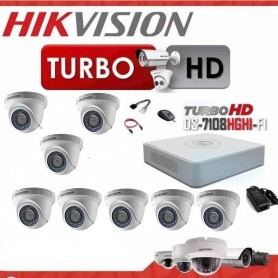 KIT 8 CAMARAS SEGURIDAD HD + DVR TURBO HD 720 HIKVISION + DISCO RIGIDO 1TB + CABLES + TRANSFORMADOR