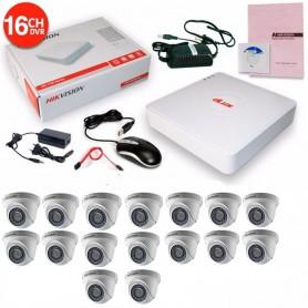 KIT 16 CAMARAS SEGURIDAD HD + DVR TURBO HD 720 HIKVISION + DISCO RIGIDO 1TB + CABLES + TRANSFORMADOR