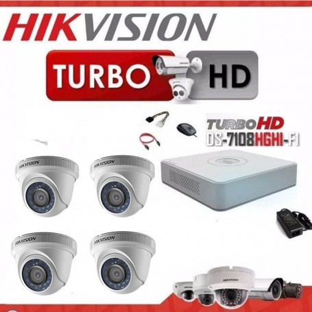 KIT 4 CAMARAS SEGURIDAD HD + DVR 8 TURBO HD 720 HIKVISION + CABLES + TRANSFORMADOR