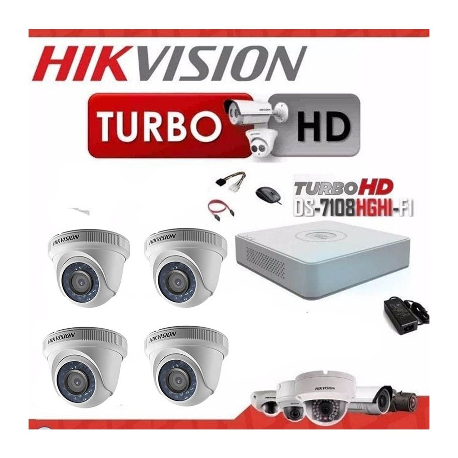 KIT 4 CAMARAS SEGURIDAD HD + DVR 8 TURBO HD 720 HIKVISION
