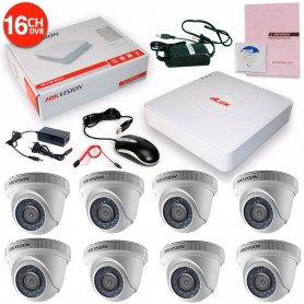 KIT 8 CAMARAS SEGURIDAD HD + DVR 16 TURBO HD 720 HIKVISION + CABLES + TRANSFORMADOR