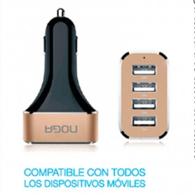 CARGADOR AUTO 12V USB 5,0V 9,6 AMP 4 TOMAS NOGA 17P