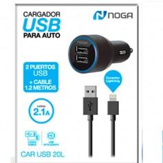 CARGADOR AUTO 12V USB 5,0V 2,1 AMP 2 TOMAS + CABLE LIGHTNING NOGA 20L