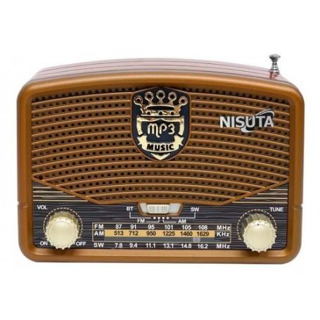 Radio Retro Portatil Nisuta Am Fm Bluetooth Recargable Nsrv16 3 Bandas Bluetooth Usb
