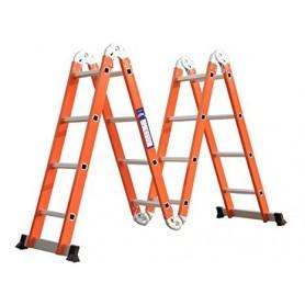 Escalera Multiproposito Aluminio Plegable Articulable Altura Maxima 4,7 Mts Naranja 4X4